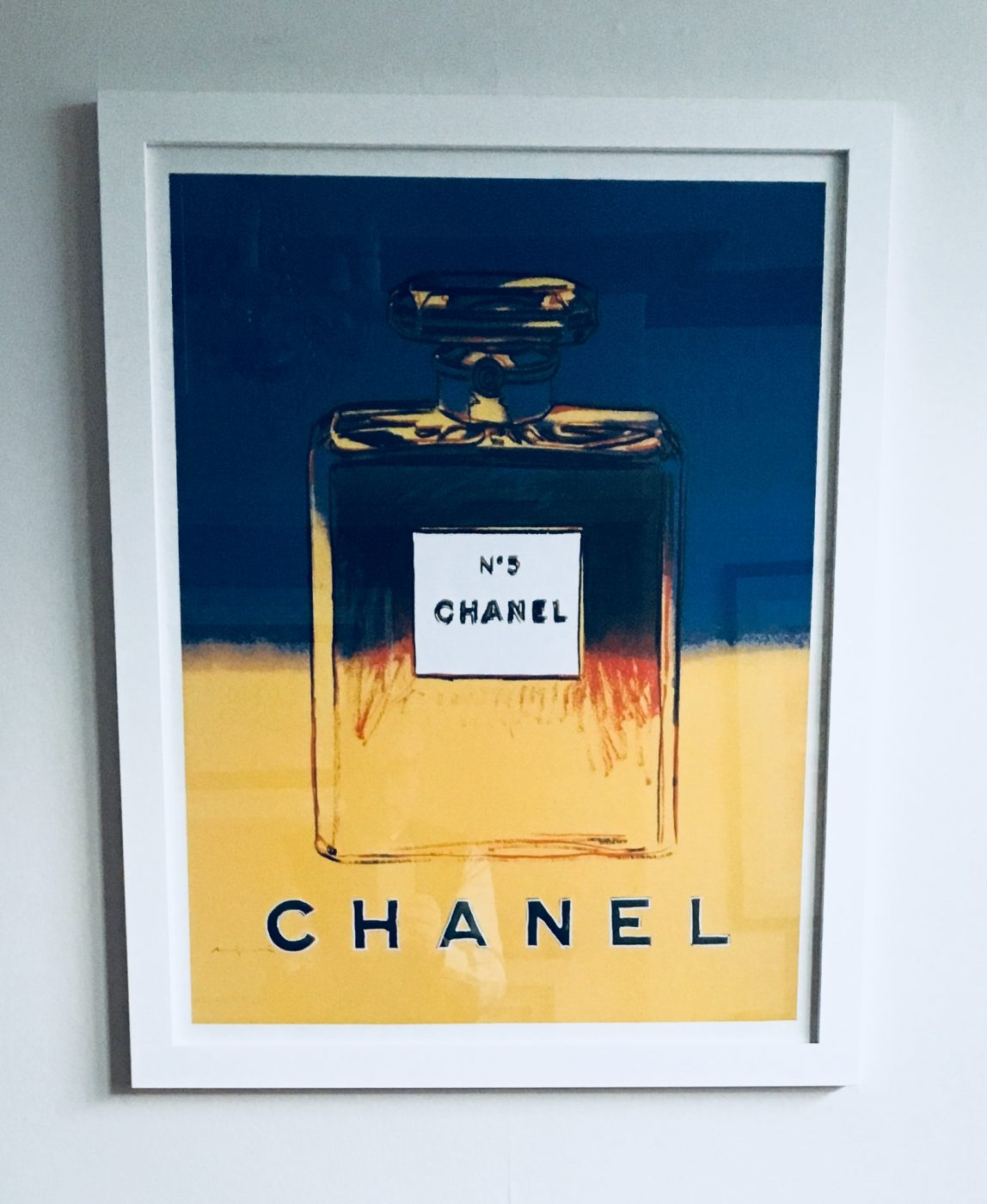 Andy Warhol Chanel No 5 poster. Blue and Yellow. | Butler & Brown